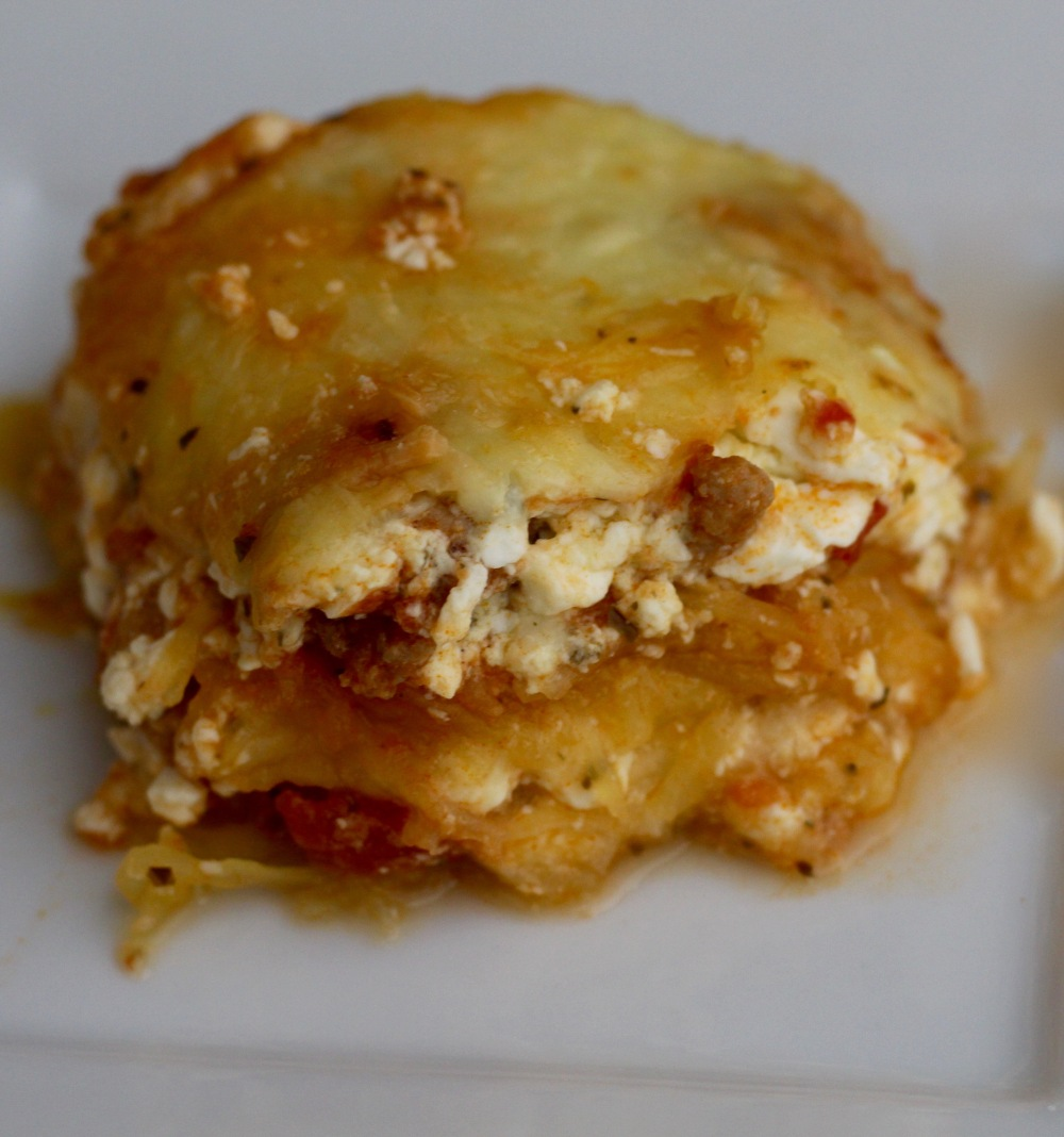 a slice of low carb spaghetti squash lasagna