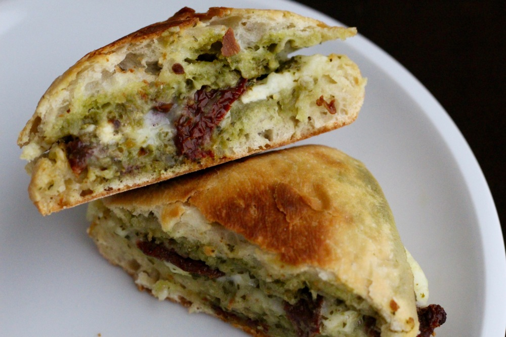 Pesto, Sun-Dried Tomato & Brie Grilled Cheese Sandwich