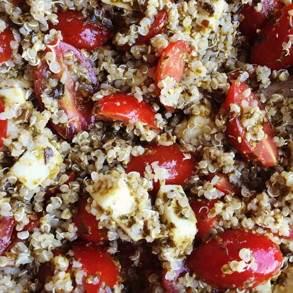 close up of Caprese Quinoa Salad