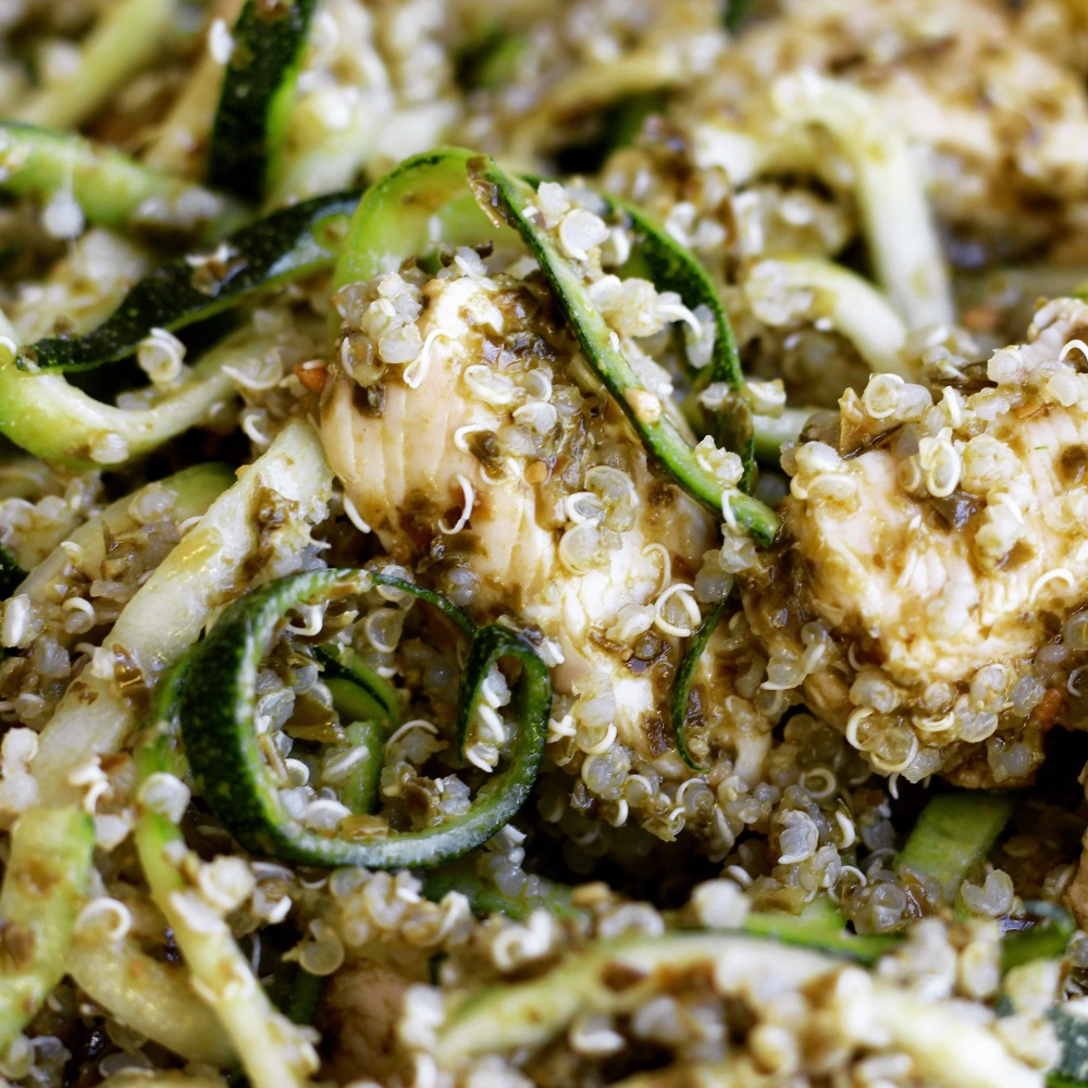close up of Pesto Chicken Quinoa with Zoodles