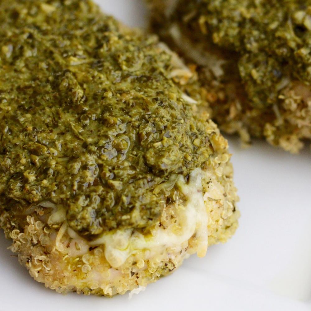 Quinoa Crusted Chicken with Pesto