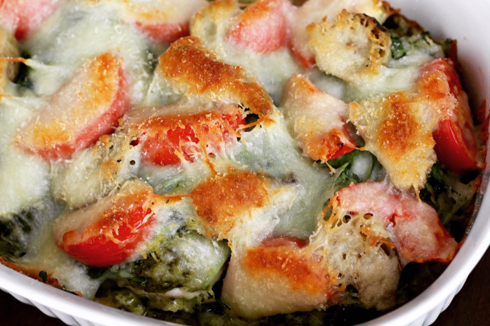 Pesto Spinach Artichoke Chicken Bake