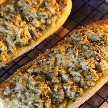 Pesto Garlic Bread in the oven