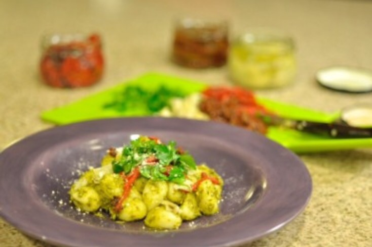 Pesto Gnocchi  on a purple plate