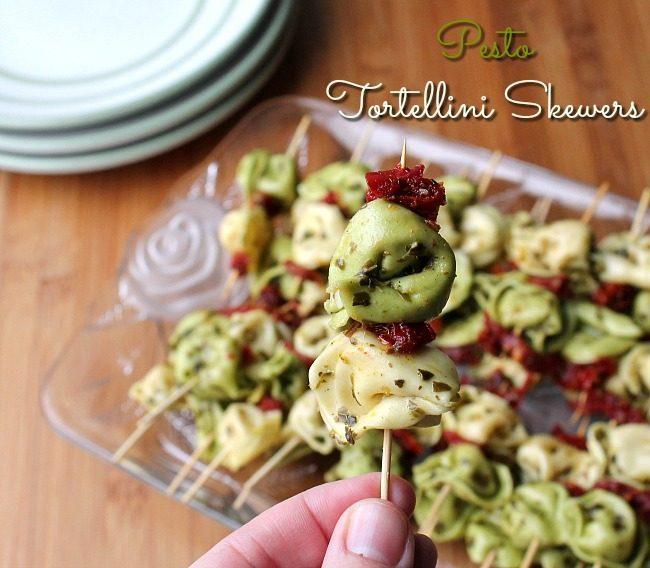Pesto Tortellini Skewers from Foody Schmoody
